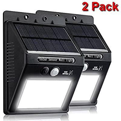 Gear Mongrel Outdoor Solar Powered Motion Sensor Lights - 2 Pack Super Bright 20 LED Wireless Waterproof Exterior Wall Security Lighting for Yard, Patio, Driveway, Deck, Garden, Steps, Fence, Pathway