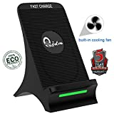 Wireless Charger Fast Charging Station Pad Qi Quick Wireless Charger for Samsung Galaxy Note 8 S8 S8 Plus S7 Edge S7 S6 Edge Plus Note 5 and Standard Charge for iPhone X/8/8 Plus Built-in Cooling Fan