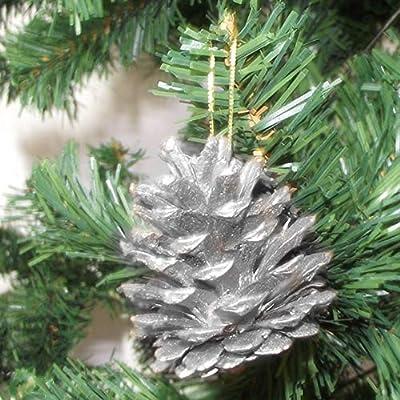 DINGJIN 36 Pcs Christmas Pine Cones Baubles X-mas Tree Party Hanging Decorations Ornament Home Decor (Silver,Gold)