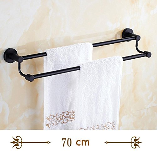 hot sale 2017 YONG Black retro towel rack double rod stainless steel towel rack bathroom accessories , 70cm