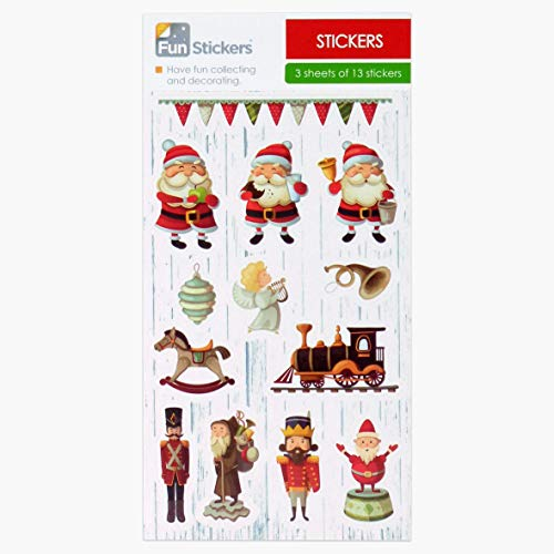Fun Stickers Christmas Kids Party Bag Fillers 3 Sheets Vintage Toys CDU F 18-82