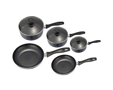Platane 8 Piezas Juegos de Cacerolas y Sartenes de Aluminio Antiadherente Utensilios de Cocina para Placa