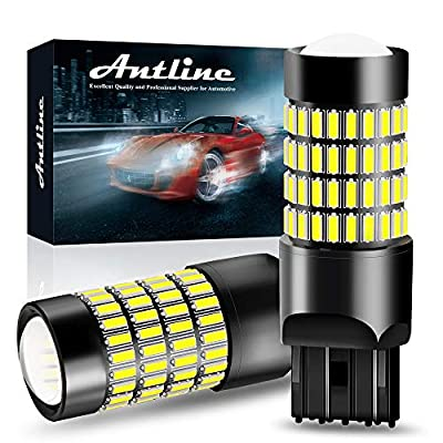 7443 LED Bulbs, ANTLINE 1400 Lumens Super Bright 4014 102-SMD 7440 7441 7444 T20 992 W21W LED Bulbs with Projector for Backup Reverse Tail Brake Turn Signal DRL Parking Lights, Xenon White(Pack of 2): Automotive