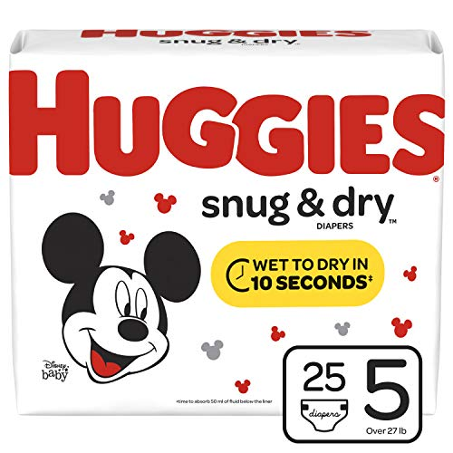 Huggies Snug & Dry Diapers, Size 5 (27+ lb.), 25 Ct, Jumbo Pack (Packaging May Vary) (Luv Diapers 5)