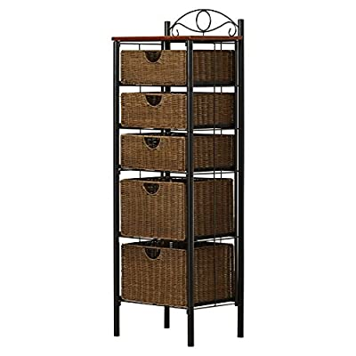 "Darby Home Co - Caroleann Cabinet, Linen tower - Overall: 52.25"" H x 18"" W x 13.25"" D; Overall Product Weight: 37.5lbs The weight limit for each basket is 10 lbs. Product Type: Linen tower; Mount Type: Free standing - shelves-cabinets, bathroom-fixtures-hardware, bathroom - 511xzBc4SiL. SS400  -"