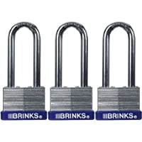 Brinks 162-44302 44mm Laminated Steel Padlock with 2-Inch Shackle, 3-Pack by BRINKS