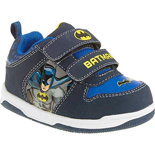 DC Comics Batman Toddler Boys' Skate Sneaker Light Up Velcro Size 12 (Batman And Robin Shoes)