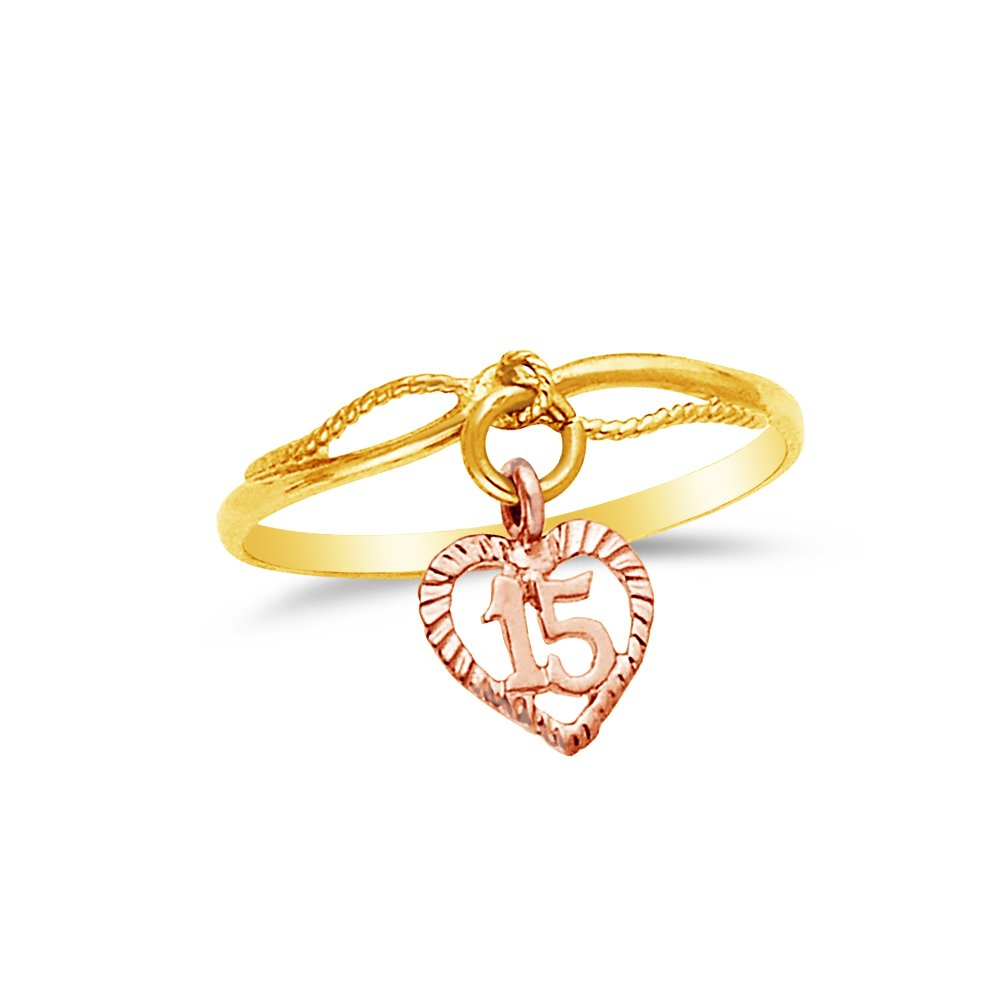 Jewel Tie Solid 14k Two Toned Gold 15 Years Birthday Heart Ring Size 8.5
