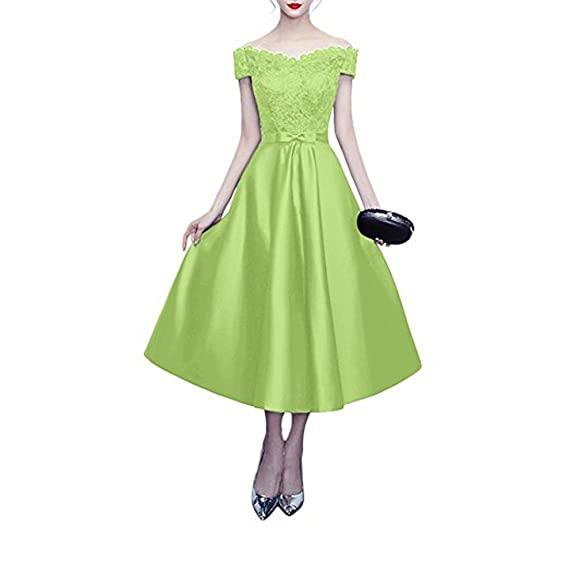 Leader of the Beauty Shoulder Lace Cap Sleeves Prom Dress Cocktail Evening Gowns Apple Green UK