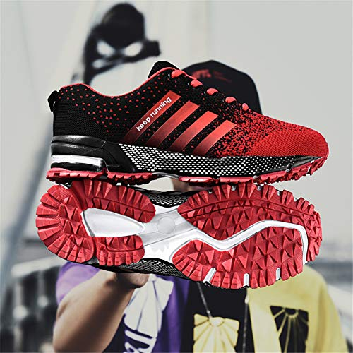 KUBUA Womens Running Shoes Trail Fashion Sneakers Tennis Sports Casual Walking Athletic Fitness Indoor and Outdoor Shoes for Women F Red Women 5.5 US/Men 4.5 M US by KUBUA (Image #7)