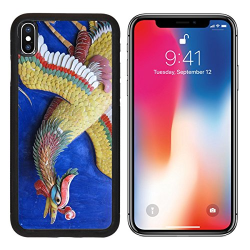 MSD Premium Apple iPhone X Aluminum Backplate Bumper Snap Case IMAGE ID 35968211 Colorful Chinese phoenix statue on Chinese temple wall (Flying China Phoenix)
