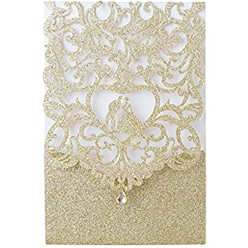 Laser Cut Wedding Invitations With Envelopes With Blank Printable Paper 25pcs Gold Glitter 4 7 X 7 Laser Cut Wedding Invitations Cards With