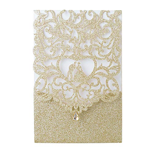 "Laser Cut Wedding Invitations with Envelopes with Blank Printable Paper – 25pcs Gold Glitter 4.7"" x 7""Laser Cut Wedding Invitations Cards with Rhinestone Kits for Wedding Bridal Shower Engagement"