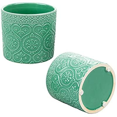 MyGift 4-Inch Aqua Green Ceramic Floral Embossed Succulent Planter Pots, Set of 2 : Garden & Outdoor