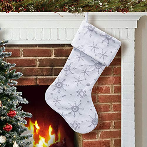 S-DEAL 21 Inch White Grey Snow Christmas Stocking Gift Holder Mantel Decoration Party Xmas Holiday Ornament