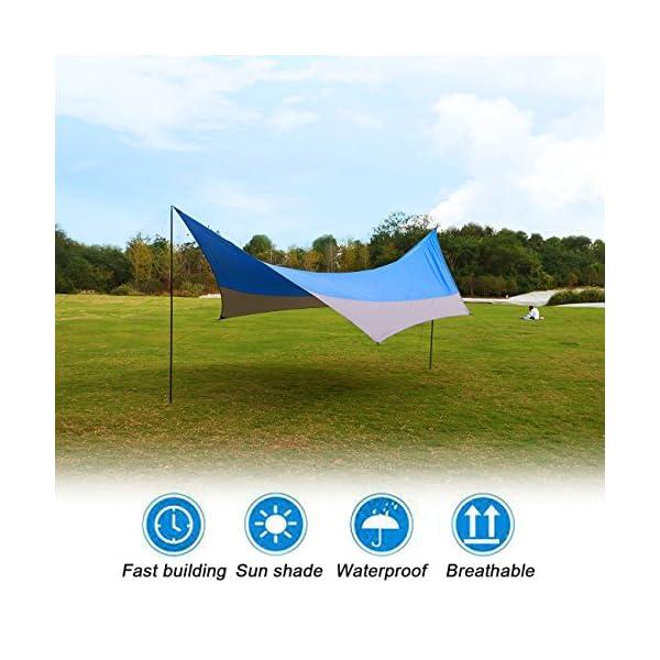511y%2BB5ebYL OVERMONT 5m x 5m Sonnensegel Camping Plane wasserdichte Zeltplane Sonnenschutz Sun Shelter Außenzelt mit Zeltheringen…