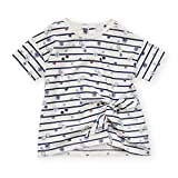Jessica Simpson Girl's Short Sleeve Crewneck Striped T-Shirt with Mock Tie Front Sunglass Stripe 5