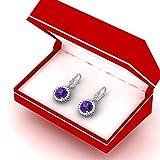 14K-White-Gold-Ladies-Halo-Style-Dangling-Drop-Earrings