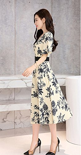 Dress Printed White Short Neck V cotyledon Sleeve Dresses OL Women`s x8pzwqU