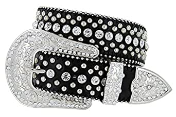 Women's Cowgirl Style Western Belt with Rhinestones and Studs (32 Black)