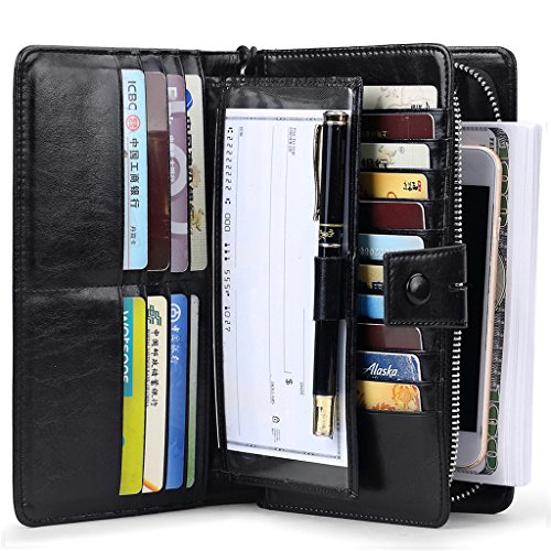 Checkbook Organizer Wallet - JEEBURYEE Women's RFID Blocking Large Capacity Genuine Leather Clutch Multi Card Organizer Wallet with Removable Checkbook Holder and Wrist Strap Black