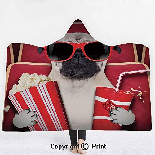 Pug 3D Print Soft Hooded Blanket Boys Girls Premium Throw Blanket,Funny Dog Watching Movie Popcorn Soft Drink and Glasses Animal Photograph Print,Lightweight Microfiber(Kids 50