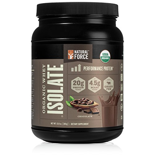 Natural Force® Organic Whey Protein Isolate *RANKED #1 BEST TASTING* Grass Fed Whey – Undenatured Whey Protein Isolate – Raw Organic Whey, Gluten Free, Natural Whey Protein, Chocolate, 13.8 oz.