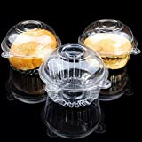 Cup a Cake Clear Pod Container Individual CupCake Plastic Dome Box For Muffins, Salad, Cheese, Cream, Fairy Cakes(100 )