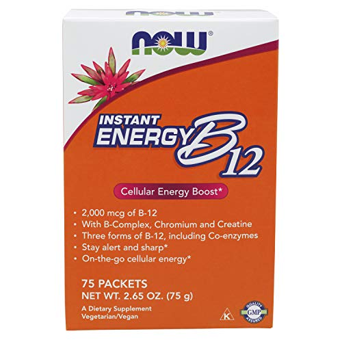 NOW Supplements, Instant Energy B-12 (2,000 mcg of B-12 per packet), 75 Packets B Vitamins Energy Drinks