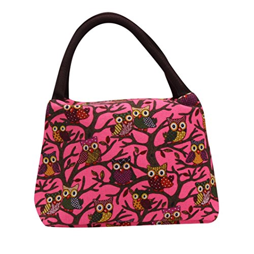 Fabal Owl Thermal Insulated Tote Picnic Lunch Cool Bag Cooler Box Handbag Pouch (Hot Pink)