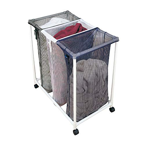 Smart Design Deluxe Rolling Triple Compartment Laundry Sorter Hampers w/Wheels - VentilAir Mesh Fabric - for Clothes & Laundry - Home Organization (Holds 9 Loads) [White, Blue, Green] (Laundry Sorter With Mesh Bags)
