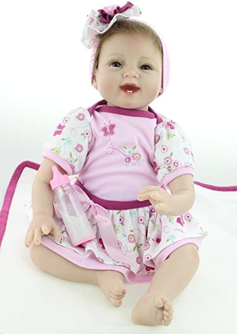 "Full Silicone Reborn Baby Doll Lifelike 14/"" Vinyl Princess Smile Girl Baby Toys"