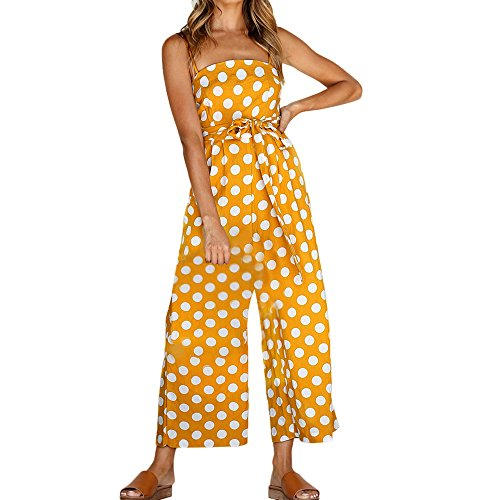 - WILLBE Women Fashion Sleeveless Jumpsuit Summer Strappy Romper Beach Playsuit Wide Leg Jumpsuit Casual Stretchy Rompers Yellow