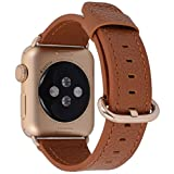 Apple Watch Band 38mm Women - PEAK ZHANG Light Brown Genuine Leather Replacement Wrist Strap with Gold Adapter and Buckle for Iwatch Series 2,Series 1,Sport,Edition