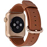 Apple Watch Band 42mm Women Men - PEAK ZHANG Light Brown Genuine Leather Replacement Wrist Strap with Gold Adapter and Buckle for Apple Watch Series 2/1 Gold Aluminum