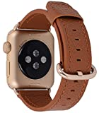 Apple Watch Band 42mm Women Men - PEAK ZHANG Light Brown Genuine Leather Replacement Wrist Strap with Gold Adapter and Buckle for Iwatch Series 3,Series 2,Series 1,Sport,Edition
