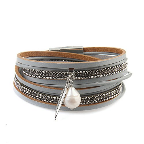 (Women's Genuine Leather Vintage Feather Wrap Bangle Bracelet with Pearl Pendant and Magnet Buckle by)