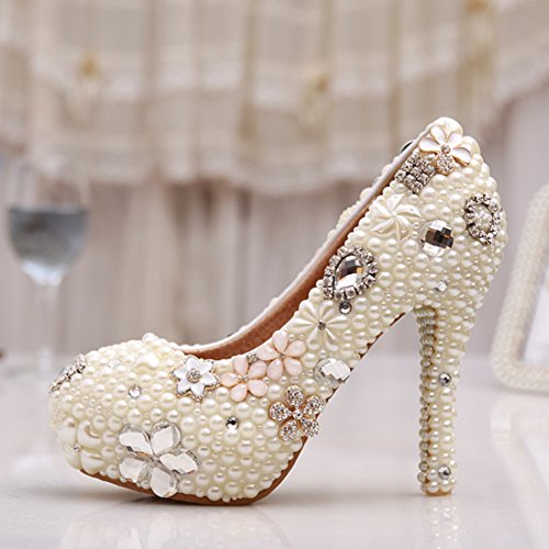 Minitoo MZLL025 Women's Fashion Beaded Handmade Satin Wedding Party Evening Prom Pumps Shoes Ivory-12cm Heel axGYHME9u