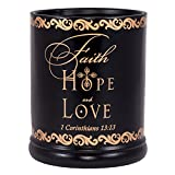 Elanze Designs Faith Hope Love 1 Corinthians 13:13 Ceramic Stoneware Electric Large Jar Candle Warmer