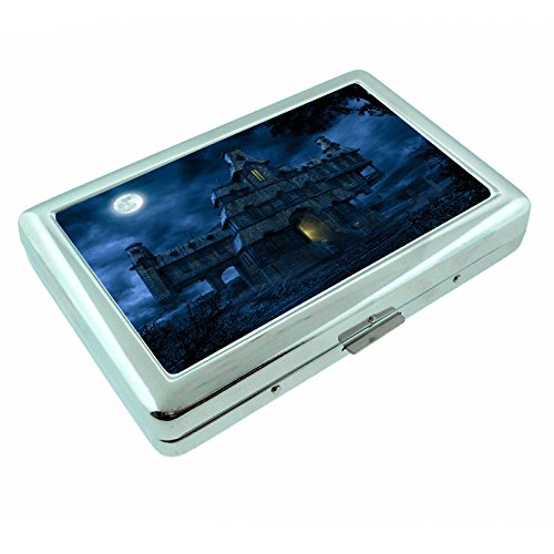 Retro Haunted House Halloween Spooky S14 Metal Silver Cigarette Case Wallet Id Holder 4