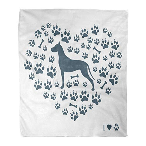 - Emvency Throw Blanket Warm Cozy Print Flannel Nice of Great Dane Silhouette on Dog Tracks and Bones in The Form Heart White Comfortable Soft for Bed Sofa and Couch 60x80 Inches