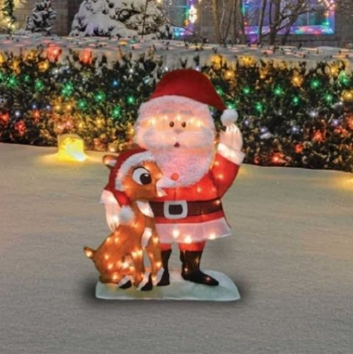Lighted Santa Claus Rudolph The Red Nosed Reindeer Sculpture Outdoor Christmas Yard Lawn Decoration Holiday Yard Art