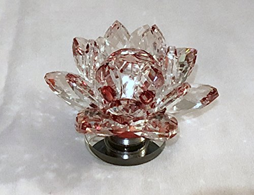New 3.5'' Red Crystal Glass Prism Lotus Flower with Attached Rotating Glass Base by Unknown