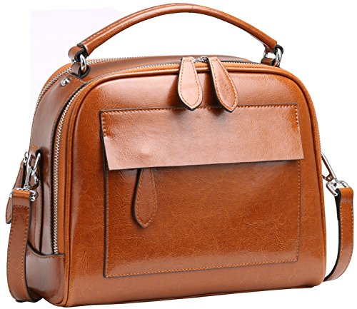 - Heshe Womens Leather Handbags Shoulder Bags Hand Holder Satchel Purse Cross Body Handbag (Brown)
