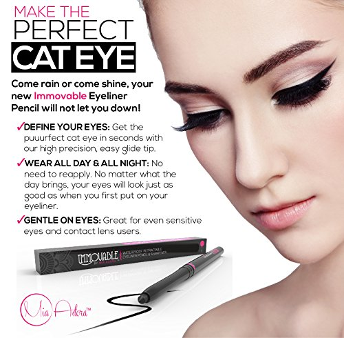 Best Black Waterproof Eyeliner Pencil with Sharpener - 12 Hour Wear - Easy to Use & Perfect Eye Liner for Your Cat Eyes & Waterline - Immovable by Mia Adora Makeup