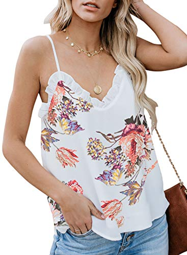 BLENCOT Women Ladies Sexy V Neck Floral Ruffle Sleeveless Blouses Spaghetti Strap Tank Tops Camisole Shirts White XL