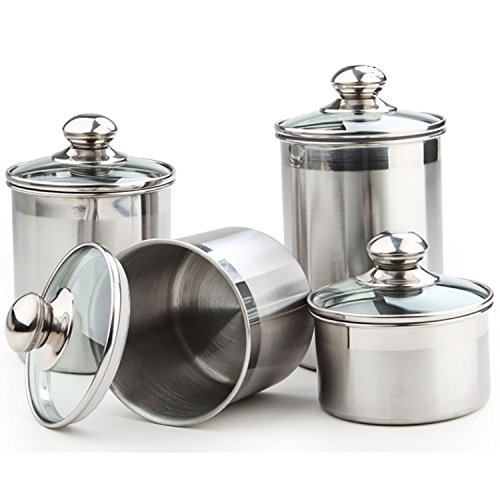 5-Piece Stainless Steel Canister Set (Medium) with Glass Lids - Canister Sets For Kitchen Counter, Tea Coffee Flour Sugar Canisters - Set Includes: 20ml Spoon, 25oz, 37oz, 47oz, 64oz (5pc Glass)