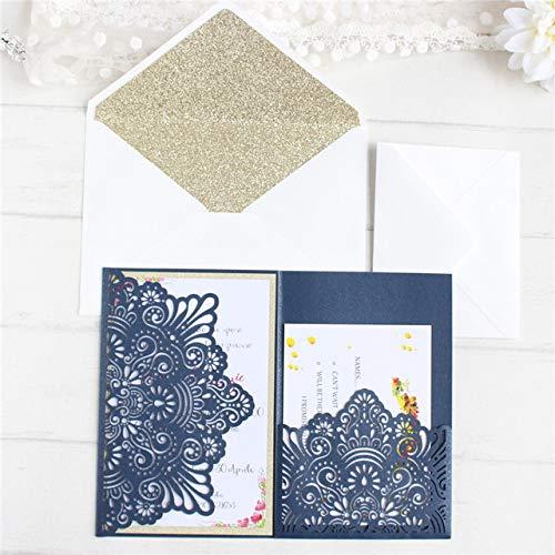 Navy Blau random Dodom Hochzeitseinladungs-Brautgrußkarte Elegante Karte mit Glittery Schlagen Angebot inneres UAWG-Drucken 50pcs, Marineblau, kundengebundenes Drucken EIN