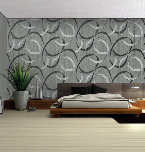 Grad Streamer (QIHANG High-grade Geometric Streamer Embossed PVC Wallpaper Roll Black&Gray 0.53m*10m=5.3㎡)