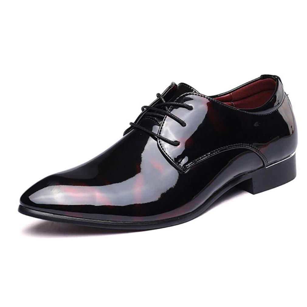 FuweiEncore Herrenschuhe Leder Frühjahr Herbst Mode Spitz Schuhe Formale Schuhe Oxfords schnüren Sich Business Schuhe Schwarz Rot   Blau Hochzeit (Farbe   EIN, Größe   39) (Farbe   C, Größe   46)